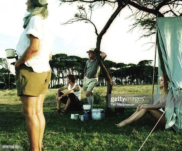 South Africa, Cape Peninsula National Park, family at campsite