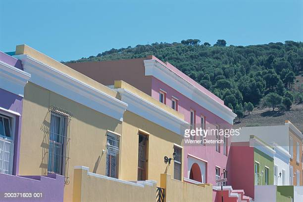 South Africa, Cape Town, Bo-Kaap, painted houses, low angle view