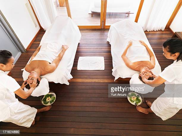 South Africa, Cape Town, Couple getting massage in spa