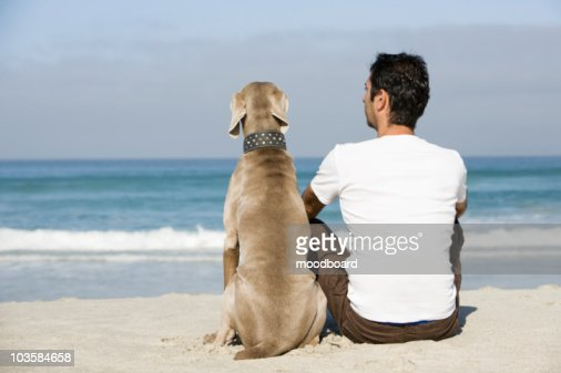 South Africa,  Cape Town,  Man and dog sitting beach : Stock Photo