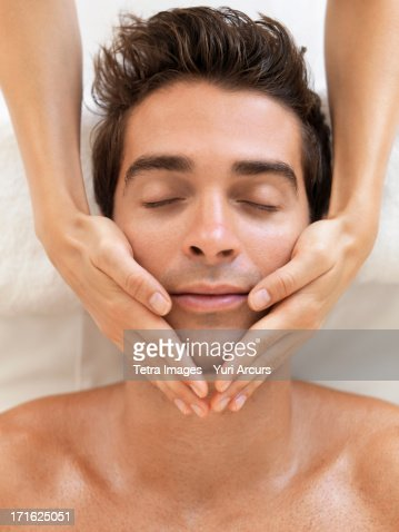 South Africa, Cape Town, Man receiving massage in spa