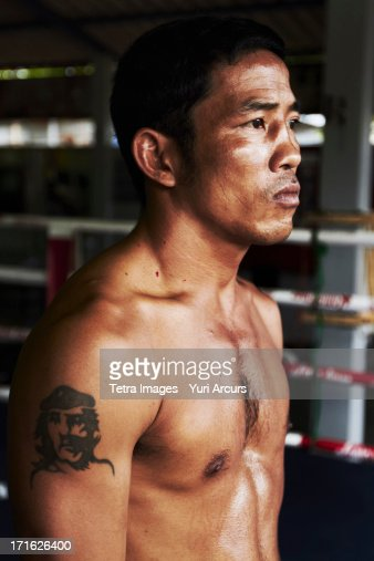 South Africa, Cape Town, Portrait of mid adult male boxer : Stock Photo