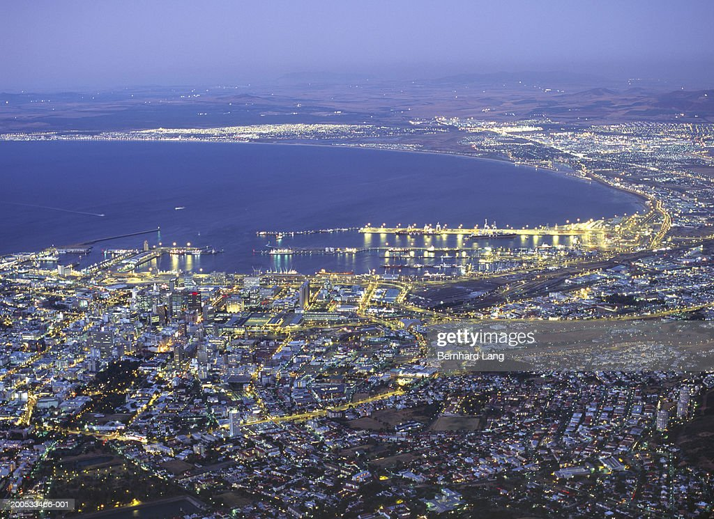 South Africa, Capetown, cityscape, elevated view, dusk : Stock Photo