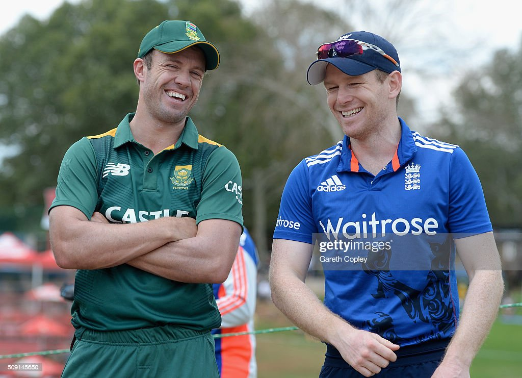 South Africa captain AB de Villiers and England captain <a gi-track='captionPersonalityLinkClicked' href=/galleries/search?phrase=Eoin+Morgan&family=editorial&specificpeople=689581 ng-click='$event.stopPropagation()'>Eoin Morgan</a> share a joke ahead of the 3rd Momentum ODI match between South Africa and England at Supersport Park on February 9, 2016 in Centurion, South Africa.