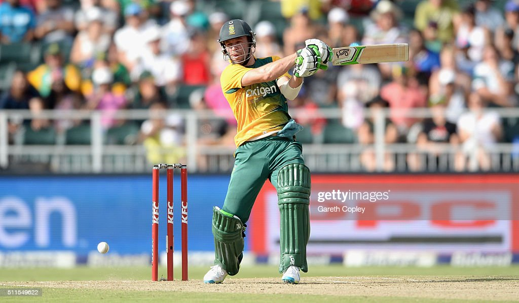 South Africa captain AB de Villiers bats during the 2nd KFC T20 International match between South Africa and England at Bidvest Wanderers Stadium on February 21, 2016 in Johannesburg, South Africa.