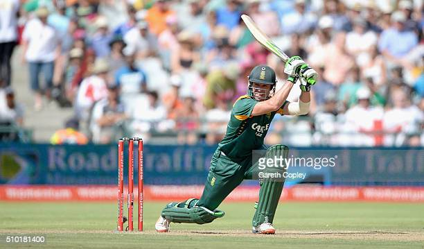 South Africa captain AB de Villiers bats during the 5th Momentum ODI match between South Africa and England at Newlands Stadium on February 14 2016...