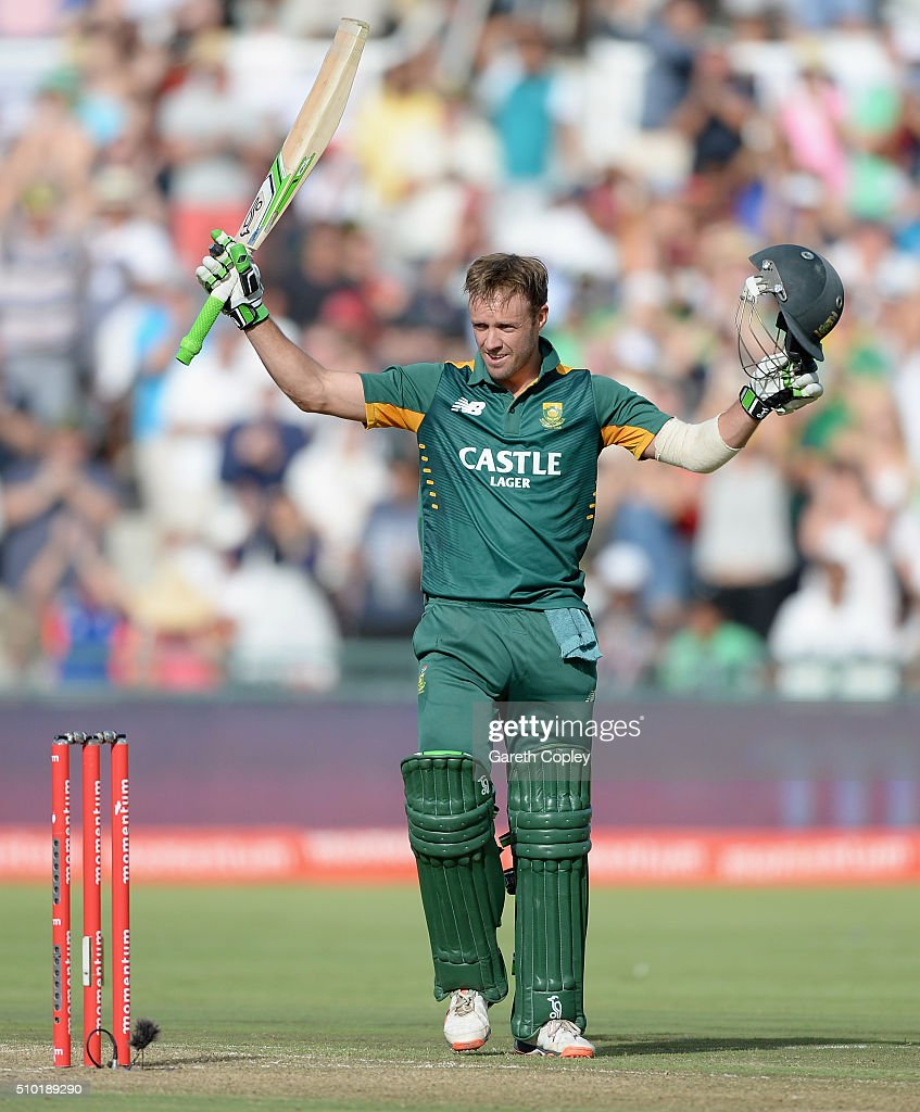South Africa captain AB de Villiers celebrates reaching his century during the 5th Momentum ODI match between South Africa and England at Newlands Stadium on February 14, 2016 in Cape Town, South Africa.