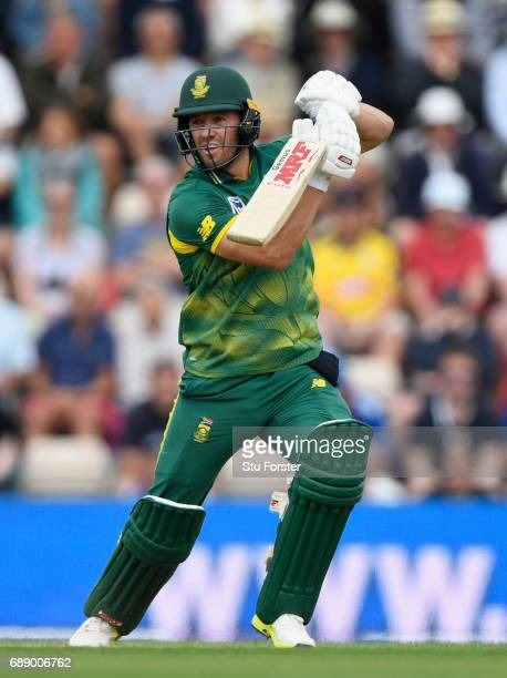 South Africa captain AB de Villiers hits out during the 2nd Royal London One Day International between England and South Africa at The Ageas Bowl on...