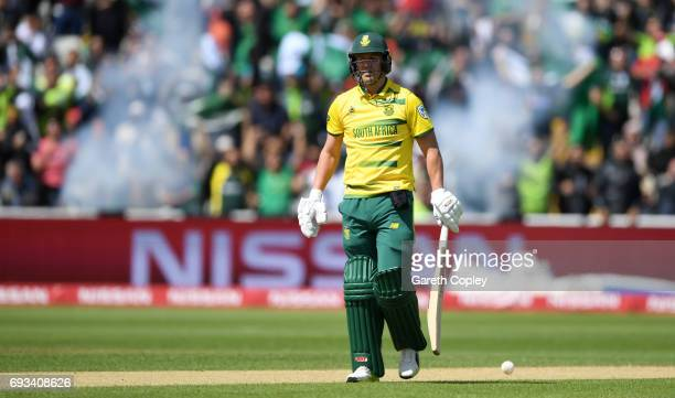 South Africa captain AB de Villiers leaves the field after being dismissed by Imad Wasim of Pakistan during the ICC Champions Trophy match between...