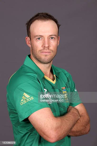 South Africa captain AB de Villiers poses at a portrait session ahead of the ICC T20 World Cup on September 16 2012 in Colombo Sri Lanka