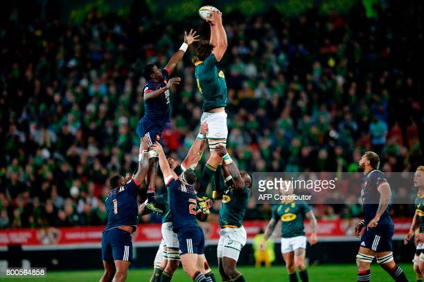 South Africa captain and lock Eben Etzebeth grabs the ball om a line out during the third rugby union Test match between South Africa and France at...
