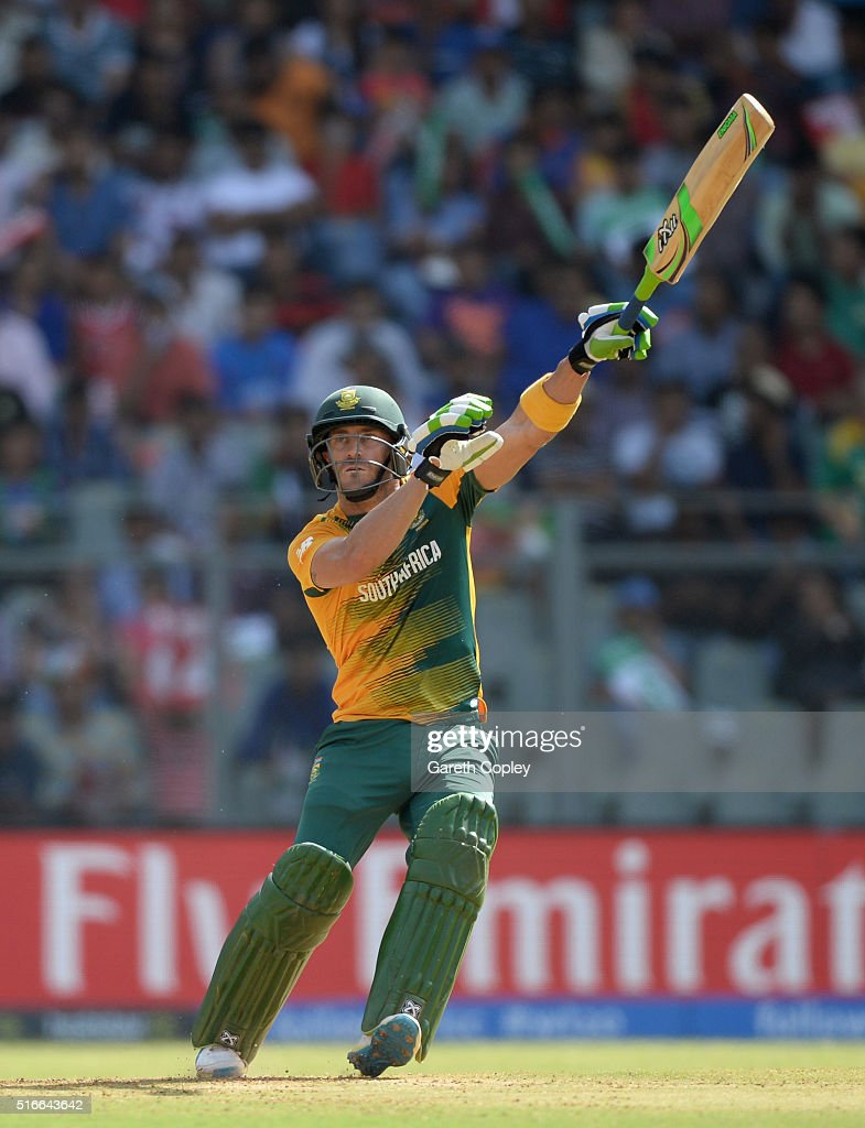 South Africa captain Faf du Plessis hits out for six runs during the ICC World Twenty20 India 2016 Super 10s Group 1 match between South Africa and Afghanistan at Wankhede Stadium on March 20, 2016 in Mumbai, India.
