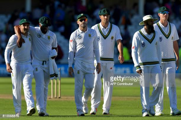 South Africa captain Faf du Plessis leads his team off the field at the close of play on the third day of the second Test match between England and...