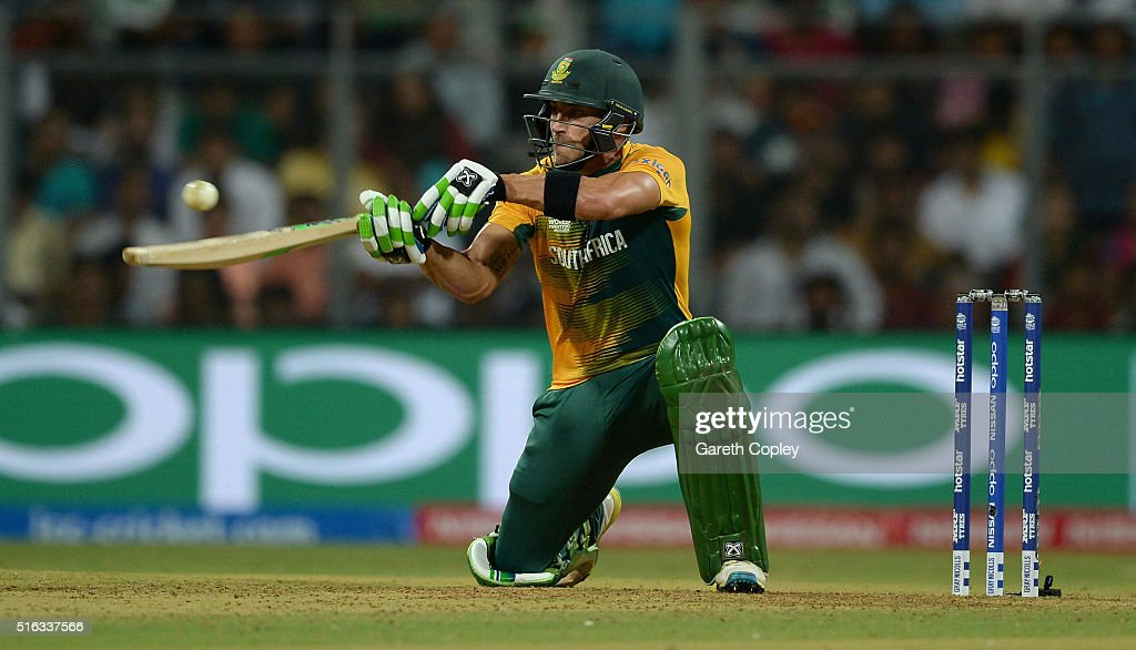 South Africa captain Faf du Plessis plays a ramp shot during the ICC World Twenty20 India 2016 Super 10s Group 1 match between South Africa and England at Wankhede Stadium on March 18, 2016 in Mumbai, India.