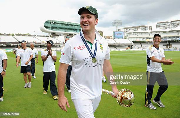 South Africa captain Graeme Smith celebrates with the ICC World Test mace after winning the 3rd Investec Test match between England and South Africa...