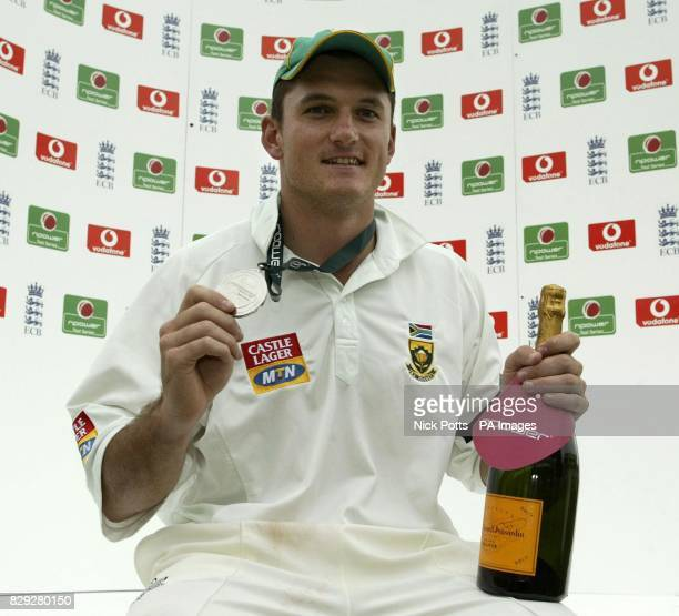 South Africa captain Graeme Smith who was named nPower Man of the Match after the final day's play of the nPower First Test England against South...