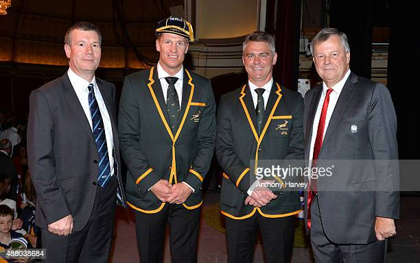 South Africa Captain Jean de Villiers Coach Heyneke Meyer and Ian Ritchie RFU Chief Executive Officer pose for a picture at the South Africa 2015...