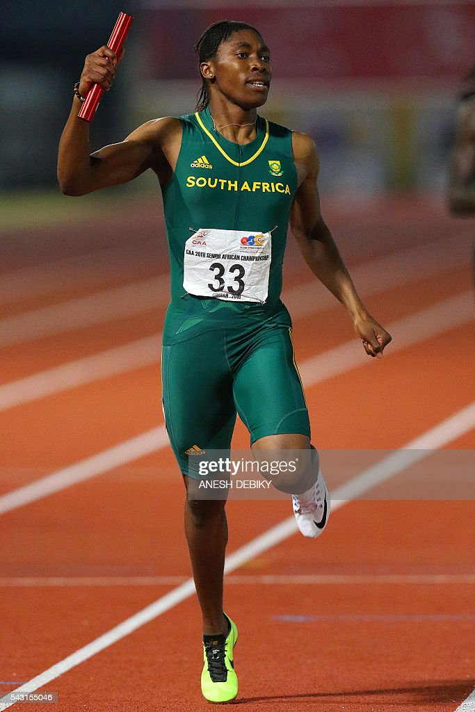 South Africa Caster Semenya runs as she wins the 4x400m finals for women during day 5 of the Confederation of African Athletics (CAA) Championships held in Durban, on June 26, 2016. / AFP / Anesh Debiky