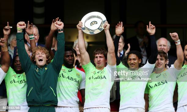 South Africa celebrate victory over Kenya in the Plate Final during day two of the Marriott London Sevens at Twickenham Stadium London