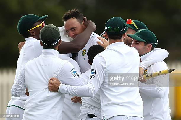 South Africa celebrates after defeating Australia during day four of the Second Test match between Australia and South Africa at Blundstone Arena on...
