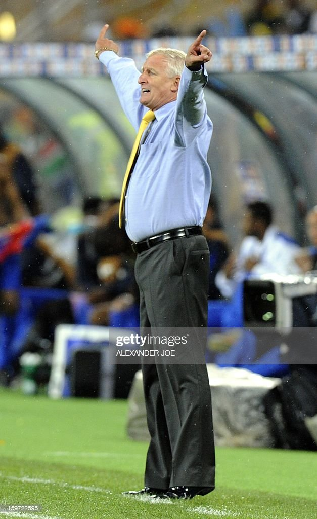 South Africa coach Gordon Igesund gestures on January 19, 2013 during a 2013 African Cup of Nation Group A football match against Cape Verde at Soccer City in Soweto.