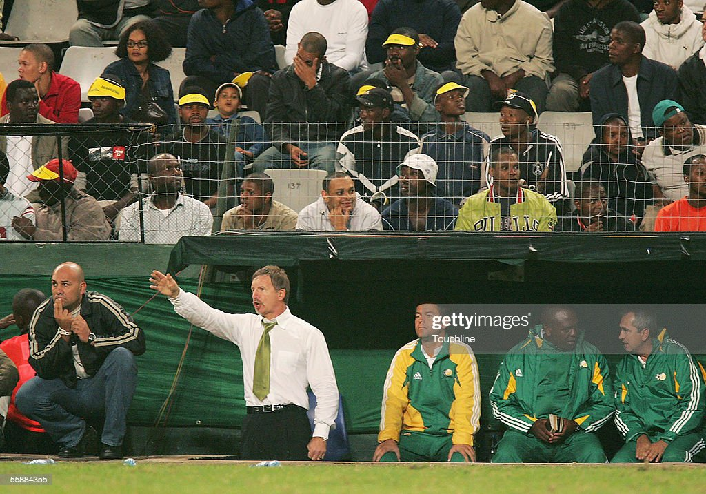 South Africa coach Stuart Baxter gestures from the bench during the World Cup Qualifier match between South Africa and Democratic Republic of Congo...