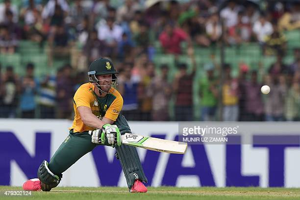 South Africa cricketer AB de Villiers plays a shot during a warm up cricket match between Bangladesh Cricket Board XI and South Africa at the Khan...