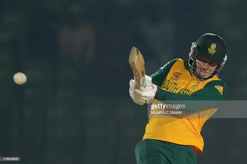 South Africa cricketer David Miller plays a shot during the ICC World Twenty20 tournament's warm up cricket match between Pakistan and South Africa at the Khan Shaheb Osman Ali Stadium in Fatullah, on the outskirts of Dhaka on March 19, 2014. AFP PHOTO/Munir uz ZAMAN