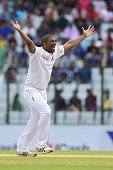 South Africa cricketer Vernon Philander appeals successfully for leg before wicket decision against Bangladesh cricketer Mohammad Mahmudullah during...