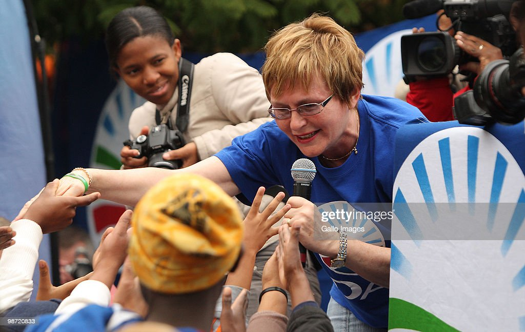 South Africa. Democratic Alliance (DA) party leader <a gi-track='captionPersonalityLinkClicked' href=/galleries/search?phrase=Helen+Zille&family=editorial&specificpeople=869313 ng-click='$event.stopPropagation()'>Helen Zille</a> (C) speaks to Party supporters at Constitution Hill on April 27, 2010 in Johannesburg, South Africa. Hundreds gathered to celebrate Freedom Day on the 16th annual public holiday commemorating the first post-apartheid elections held in 1994.