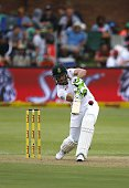 South Africa Faf du Plessis plays a shot during the 1st day of the second test match between South Africa and the West Indies at S George Park in...