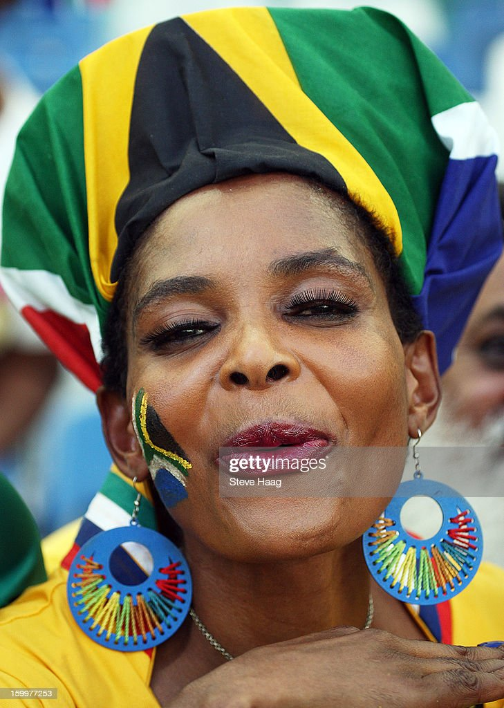 A South Africa fan enjoys the atmosphere during the 2013 African Cup of Nations match between South Africa and Angola at Moses Mahbida Stadium on January 23, 2013 in Durban, South Africa.