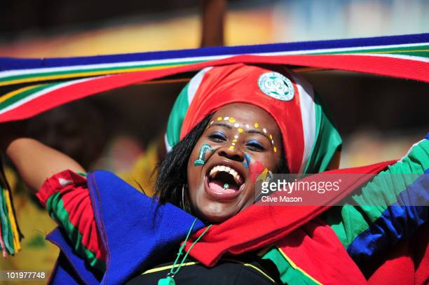 South Africa fan shows her support before the Opening Ceremony ahead of the 2010 FIFA World Cup South Africa Group A match between South Africa and...