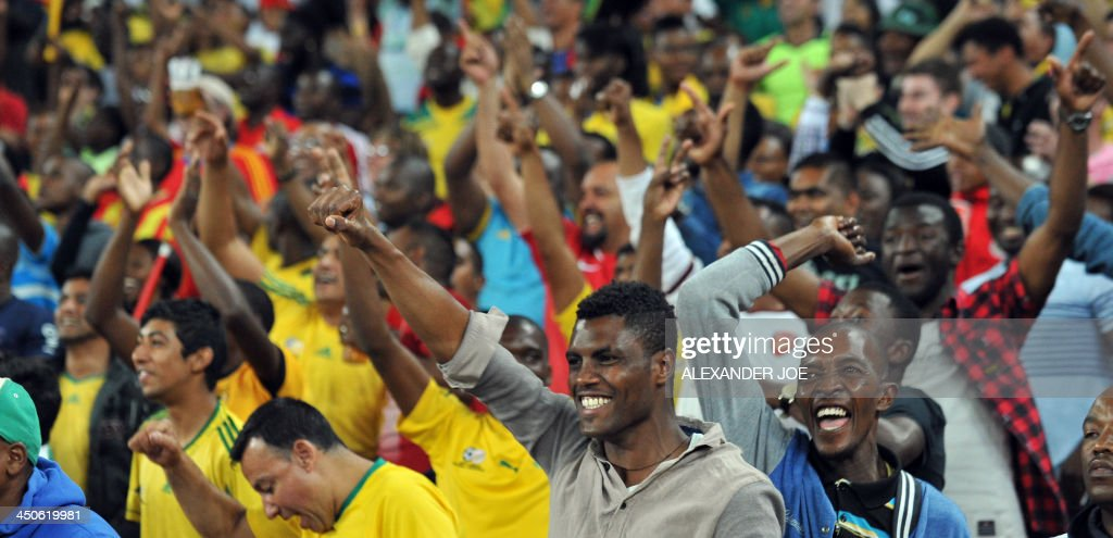 South Africa fans cheer after their team beat Spain in a friendly football match at the Soccer City Stadium in Soweto on November 19, 2013. AFP PHOTO / ALEXANDER JOE
