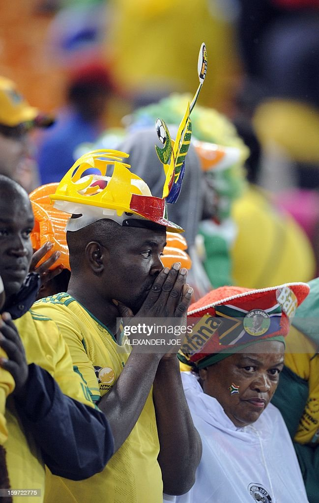 South Africa fans react on January 19, 2013 during a 2013 African Cup of Nation Group A football match against Cape Verde at Soccer City in Soweto.