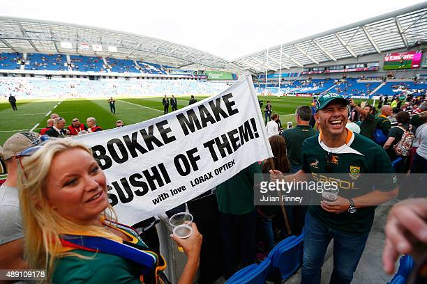 South Africa fans show their support before the 2015 Rugby World Cup Pool B match between South Africa and Japan at the Brighton Community Stadium on...