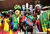 South Africa fans show their support during the Opening Ceremony ahead of the 2010 FIFA World Cup South Africa Group A match between South Africa and...