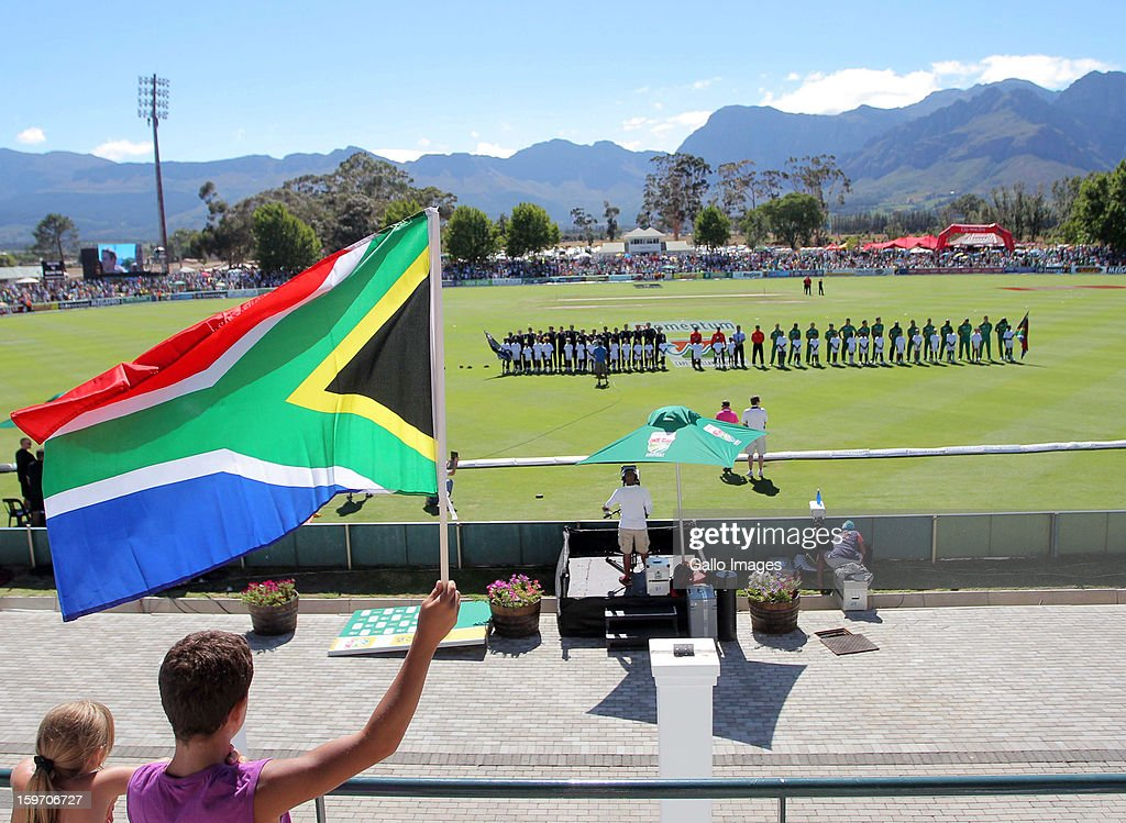 South Africa fans wave a flag during the 1st One Day International match between South Africa and New Zealand at Boland Park on January 19, 2013 in Paarl, South Africa.
