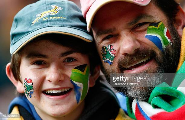 South Africa fans with painted faces before the 2015 Rugby World Cup Semi Final match between South Africa and New Zealand at Twickenham Stadium on...
