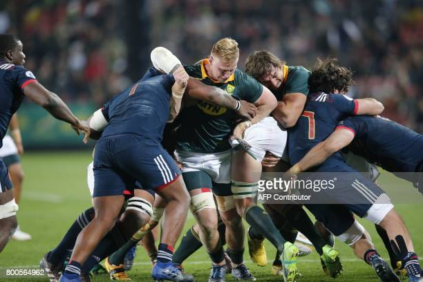 South Africa flanker Jaco Kriel drives the maul during the third rugby union Test match between South Africa and France at the Emirates Ellis park...