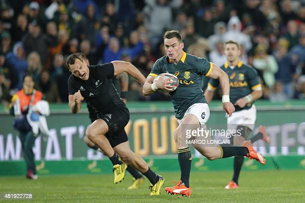 South Africa fullback Jesse Kriel runs with the ball during the South Africa versus New Zealand test match in Johannesburg on July 25 2015 LONGARI