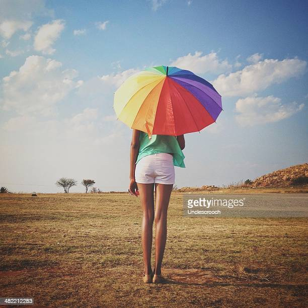 South Africa, Gauteng, Johannesburg, Roodepoort, Lady with Rainbow Umbrella