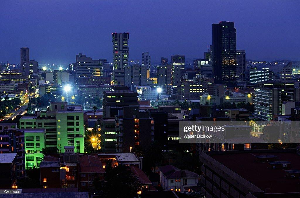 South Africa, Gauteng, Pretoria, downtown skyline, dusk