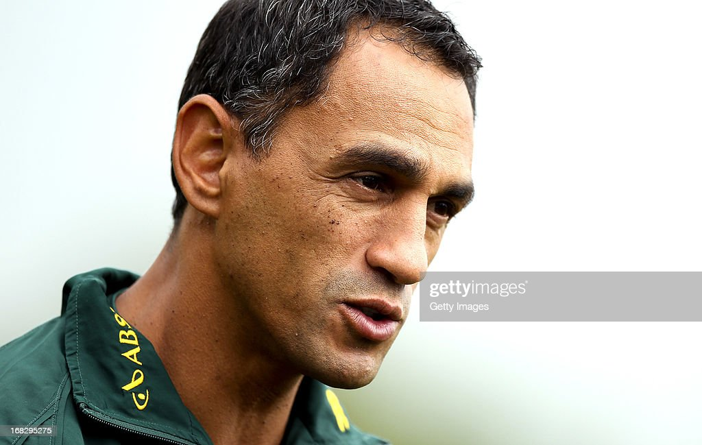 South Africa head coach Paul Treu looks on during a South Africa Rugby 7's training session at the London Wasps training ground on May 08, 2013 in Acton, England.