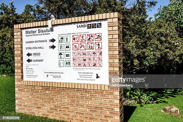 South Africa Johannesburg Roodepoort Walter Sisulu National Botanical Garden Witwatersrand sign entrance rules