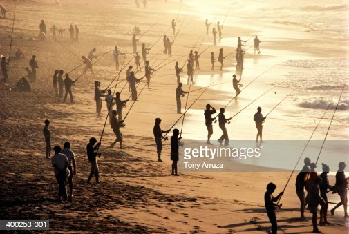 South Africa Near Durban Men On Beach Fishing For Shad ...