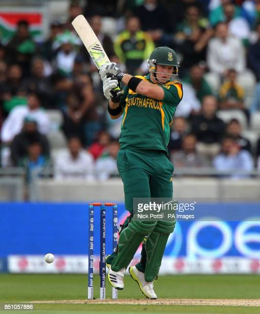 South Africa opening batsman Colin Ingram scores runs off Pakistan bowler Mouhammad Irfan during the ICC Champions Trophy match at Edgbaston...