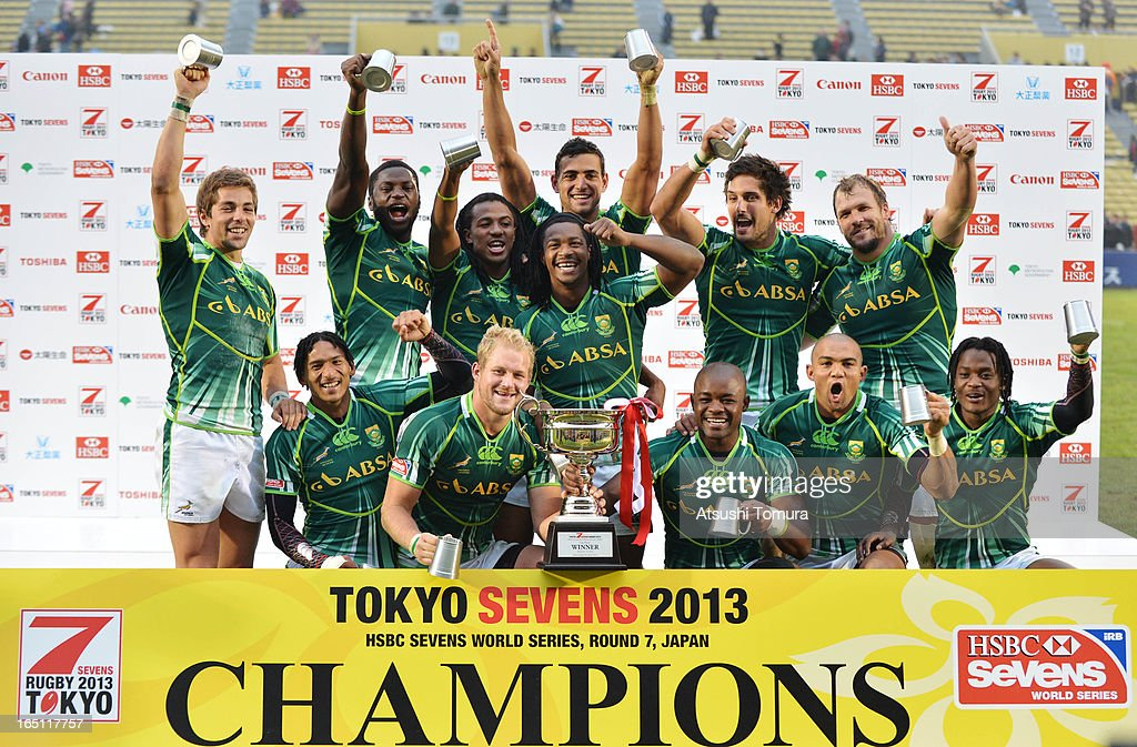 South Africa players celebrate with the trophy after winning the HSBC Tokyo Sevens, Round seven of the HSBC Sevens Tokyo at Prince Chichibu Stadium on March 31, 2013 in Tokyo, Japan.