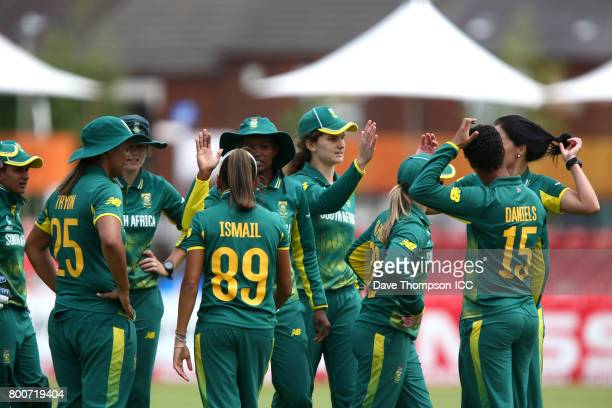 South Africa players celebrates after running out Bibi Nahida of Pakistan during the ICC Women's World Cup match between Pakistan and South Africa at...