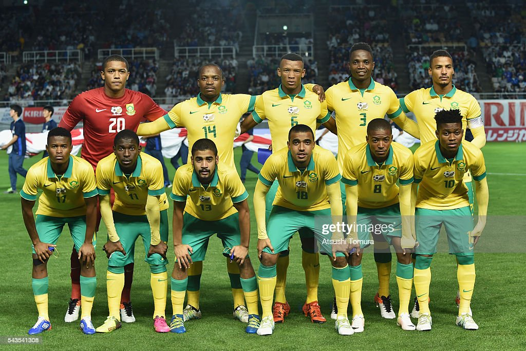 South Africa players line up for the team photos prior to the U-23 international friendly match between Japan and South Africa at the Matsumotodaira Football Stadium on June 29, 2016 in Matsumoto, Nagano, Japan.